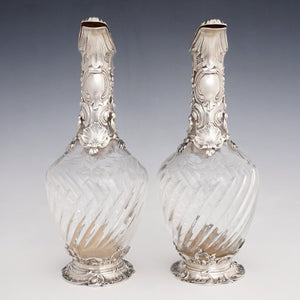 Pair Antique French Sterling Silver Cut Crystal Wine Decanters Claret Jugs, Rococo Openwork Spiral Fluting