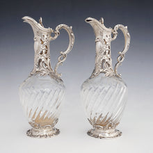 Load image into Gallery viewer, Antique French claret jugs, sterling silver