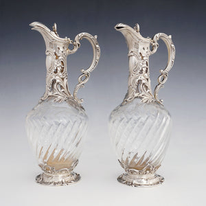 Antique French claret jugs, sterling silver