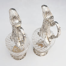 Load image into Gallery viewer, Pair Antique French Sterling Silver Cut Crystal Wine Decanters Claret Jugs, Rococo Openwork Spiral Fluting