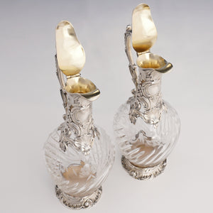Pair of French sterling silver & cut crystal wine decanters
