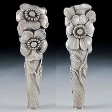 Load image into Gallery viewer, Impressive Antique French .800 Silver Figural Flowers Cane Parasol Handle