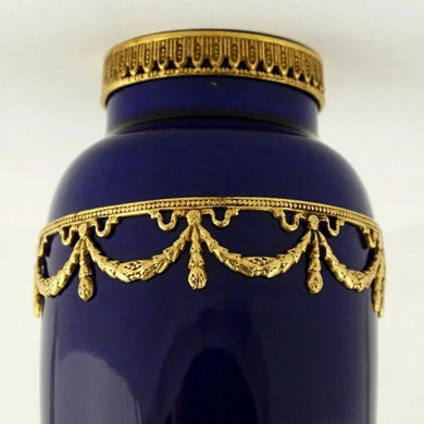 Antique French Sevres Porcelain Paul Milet Cabinet Vase Cobalt Blue Empire Style Gilt Bronze Ormolu Mounts
