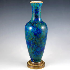 Antique French Sevres Porcelain Paul Milet Gilt Bronze Baluster Vase Blue Flambe Glaze