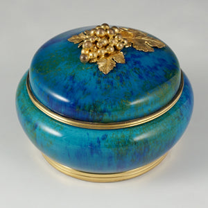 Antique French Sevres Porcelain Paul Milet Trinket Box, Gilt Bronze Grape Finial