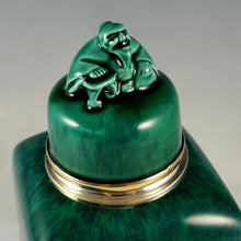 Load image into Gallery viewer, Antique French Sterling Silver Sevres Porcelain Paul Milet Tea Caddy Green Flambe Glaze