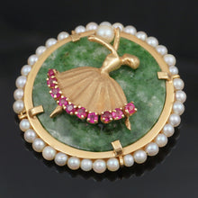 Load image into Gallery viewer, 14K Gold Jade, Pearl & Natural Ruby Figural Brooch Pin, Ballerina Dancer