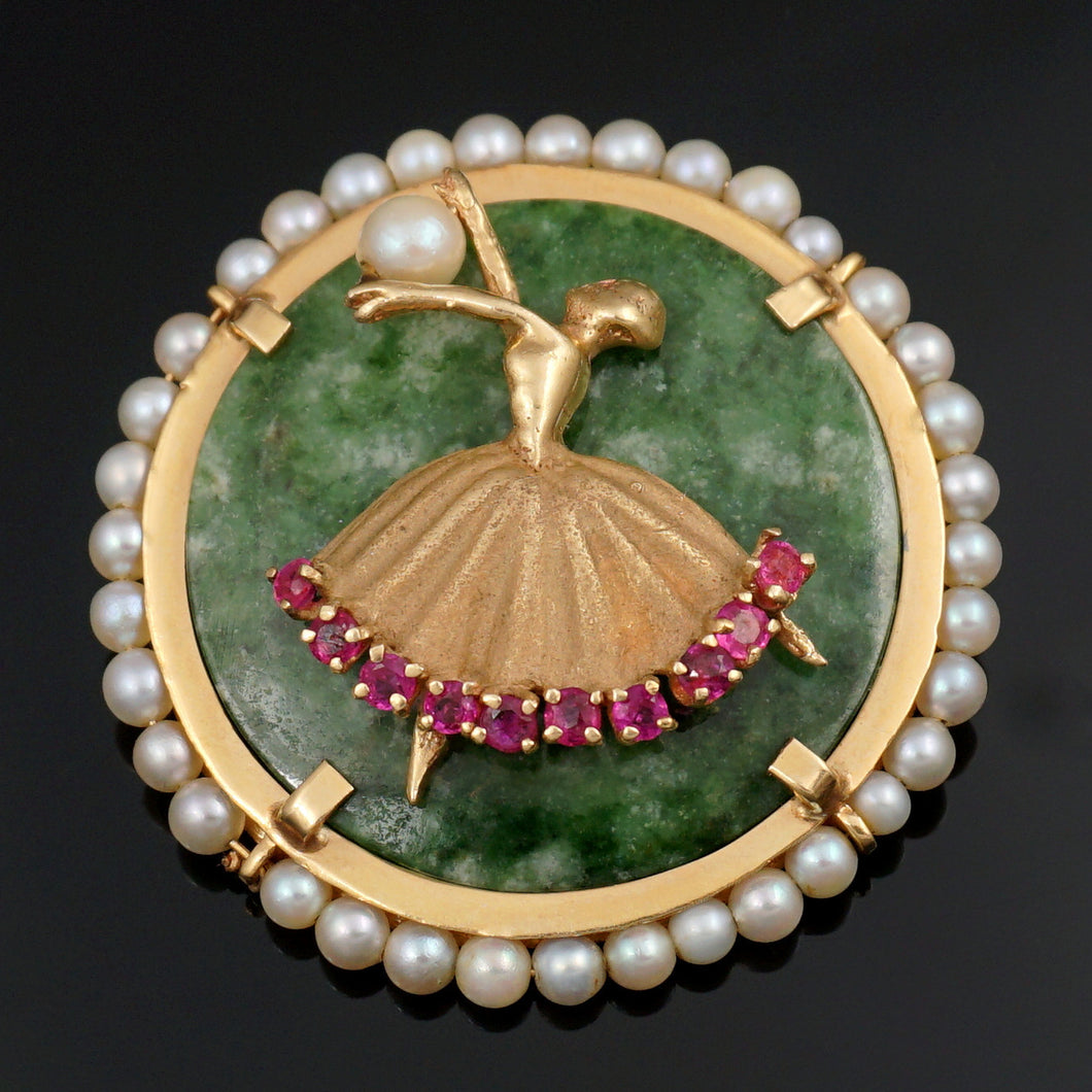 14K Gold Jade, Pearl & Natural Ruby Figural Brooch Pin, Ballerina Dancer