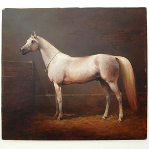 Horse Portrait Polish Oil Painting Artist Equestrian Thoroughbred in a Stable