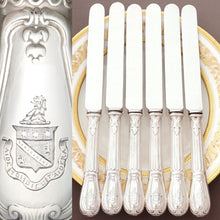 Load image into Gallery viewer, Antique French Sterling Silver Armorial Dinner Knives