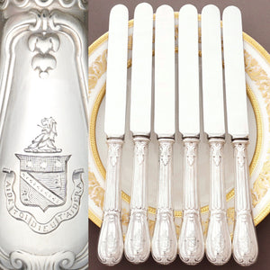 Antique French Sterling Silver Armorial Dinner Knives