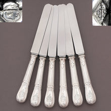 Antique French Sterling Silver Knives, Louveciennes pattern Odiot