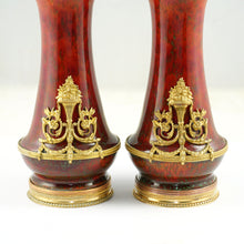Load image into Gallery viewer, Pair Antique French Optat Milet Sevres Ceramic Vases Ox Blood Sang de Bœuf Red Flambe