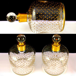 PAIR Antique French Paris Crystal & Gilt Painted Scent, Perfume Bottles SIGNED