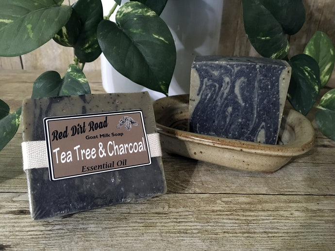 <center>Tea Tree & Charcoal<br> <small><small>Goat Milk Soap</small></small>