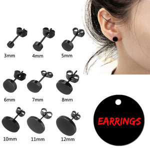 Titanium Steel Earrings Black Round Bolt Ear Studs Fashion Charm