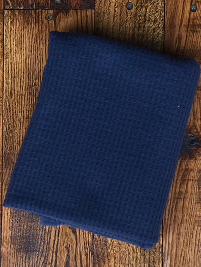 Navy Brushed Waffle Poly Rayon Spandex(LAST YARDS- NOT CONTINUOUS)