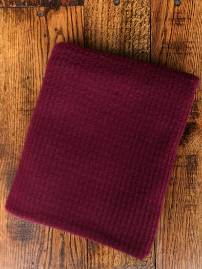 Burgundy Brushed Waffle Poly Rayon Spandex(LAST YARDS- NOT CONTINUOUS)