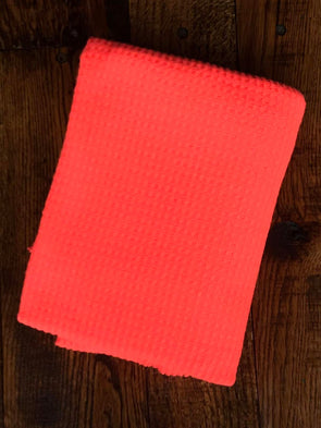 Neon Coral  Brushed Waffle Poly Rayon Spandex(LAST YARDS -NOT CONTINUOUS)