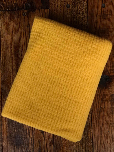 Mustard  Brushed Waffle Poly Rayon Spandex(LAST YARDS- NOT CONTINUOUS)