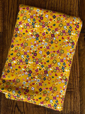Colorful Flowers on Mustard  Cotton Spandex