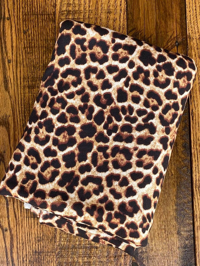 Small Light Taupe Leopard Print Yummy Ultrasoft Sweater Knit