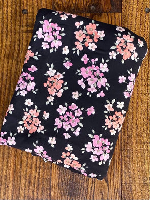 Pink & Peach Floral on Black Double Brushed Poly Spandex (LAST YARDS - NOT CONTINUOUS)