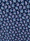 Purple & Denim Floral on Navy Double Brushed Poly Spandex
