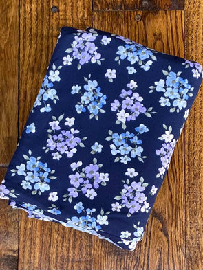 Purple & Denim Floral on Navy Double Brushed Poly Spandex (LAST YARDS - NOT CONTINUOUS)