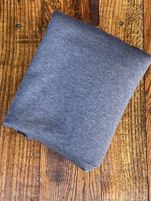 Charcoal Two Tone  Brushed French Terry Poly Rayon Spandex(LAST YARDS- NOT CONTINUOUS)