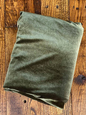 Olive Stretch Velvet(LAST YARDS- NOT CONTINUOUS)