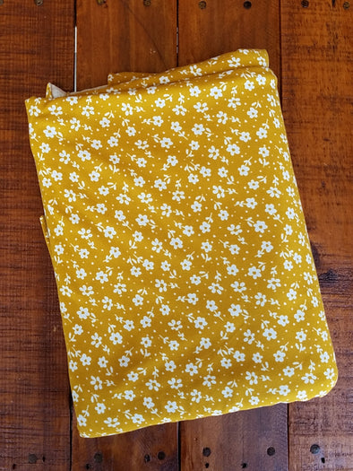 Ivory Mini Flower on Mustard Double Brushed Poly Spandex