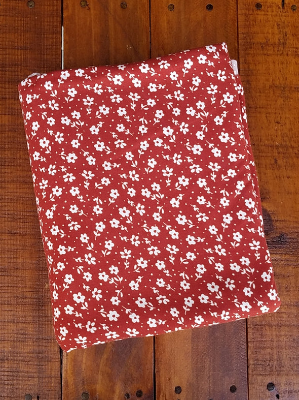 Ivory Mini Flower on Rust Double Brushed Poly Spandex