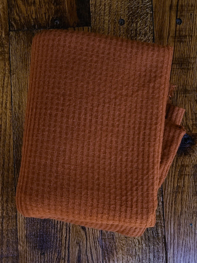 Dark Rust BRUSHED Waffle Poly Spandex