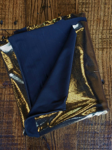Sparkly Gold Foil Poly Spandex (LAST YARDS- NOT CONTINUOUS)