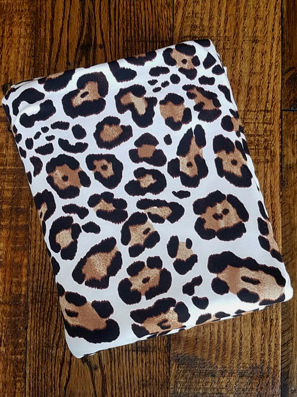 Ivory Animal Print on Double Brushed Poly Spandex