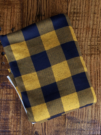 Mustard/Navy Buffalo Plaid Hacci Sweater Knit