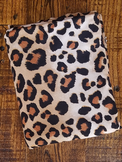Taupe & Camel Animal Print on Double Brushed Poly Spandex
