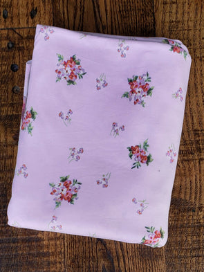 Mini Rust & Pink Bouquet on Lavender Double Brushed Poly Spandex