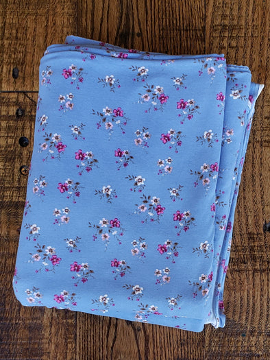 Susy Mini Floral on Denim Double Brushed Poly Spandex