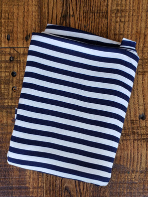 "Stripes 3/8"" Navy & Ivory Double Brushed Poly Spandex"