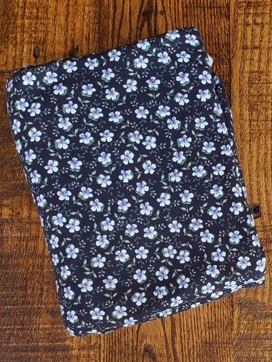 Mini Floral Prairie Blue on Navy Double Brushed Poly Spandex