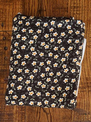 Mini Floral Prairie Mustard on Black Double Brushed Poly Spandex