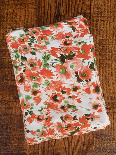 Dark coral Floral on Ivory Double Brushed Poly Spandex