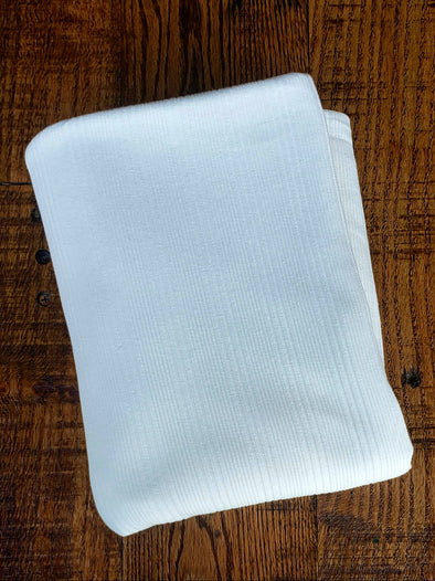 Ivory Variegated Rib Cotton Spandex