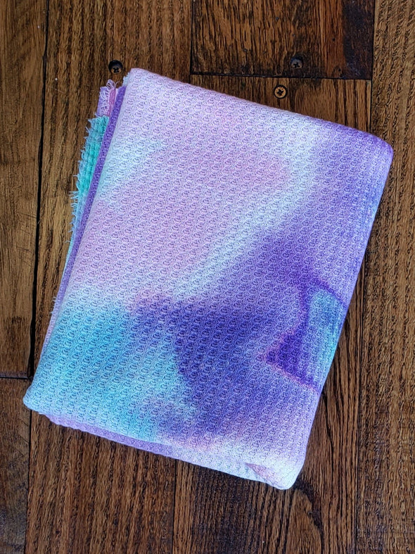 Multicolor Pink & Lilac Tie Dye WAFFLE Poly Spandex