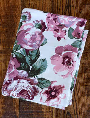 Mauve Shawna Floral on Ivory Double Brushed Poly Spandex