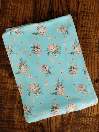 Mini Peach Bouquet on Mint Double Brushed Poly Spandex ( LAST YARDS )