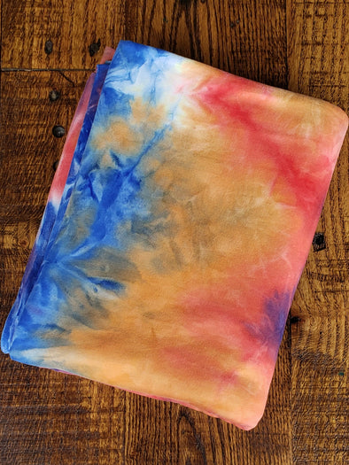 Multicolor Orange Red & Royal Blue Tie Dye Double Brushed Poly Spandex