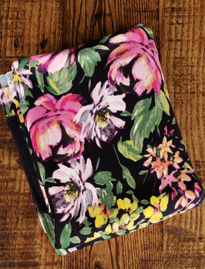 Wildflowers on Black Double Brushed Poly Spandex